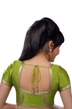 Neon #green festive wear raw #silk #blouse with cap sleeves -BL631
