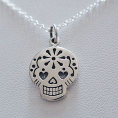 FashionJunkie4Life - Sugar Skull Necklace - Sterling Silver, $24.00 (http://www.fashionjunkie4life.com/sugar-skull-necklace-sterling-silver-skull-charm-necklace/) 10% discount for Pinterest users. Coupon code PIN10.