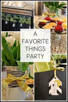Have you heard of these? A FAVORITE THINGS party where each person shares their 'must have' item(s) with the group! Life hacks, beauty products you can't live without, favorite snacks, etc! What a fun idea!