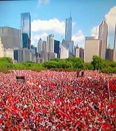 Blackhawk day in Chicago!  Yep, I was there. I'm the one in red.