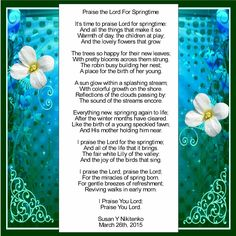 Praise the Lord For Springtime Check Out the Immanuel Prayer Wheel - Maranatha Prayer Community today and also fellowship with others in crying out for our Lord's speedy return, and also pray for your needs, and numerous other things. Click below for more info!