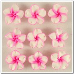 10 PCS DeepPink Fimo Polymer Clay White Petals by pandorasecret, $2.25