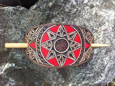 Maltese cross geometric hand carved leather hair barrette