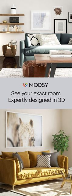 Modsy allows you to redesign the 3D rendering of your room until it is just right! Our designers adjust to your needs, no matter if you want top quality, a great value, or the look for less.