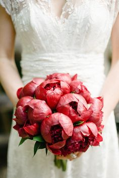 not usually a fan of red? this bouquet and wedding will totally change your mind http://www.stylemepretty.com/new-york-weddings/2012/07/16/brooklyn-wedding-at-prospect-park-wedding-by-brklyn-view-photography/  Photography by brklynview.com