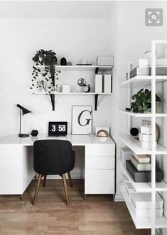 Trendy Home Office Inspiration Storage Boxes Ideas Workspace Design, Office Interior Design, Office Interiors, Blue Interiors, Modern Interior, Black And White Office, Black White, White Wood, Bedroom Desk
