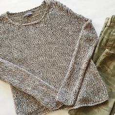 """▪️SALE▪️Vince Open Knit Sweater Vince Open Knit Sweater in gray.  Slightly oversized, dropped shoulders.  Pre-loved but inexcellent condition.  A few places where the knitting is loose.  No other holes, stains or damage.      ▪️️SALE! $75 marked down to $68!▪️  BUNDLE with jeans to SAVE and GET THE LOOK!  Measurements laying flat: Armpit to armpit: 20"""" Waist (across): 17.5"""" Total length: 22.5"""" Sleeve length: 26.5"""" Vince Sweaters"""