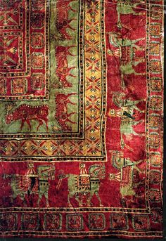 The Pazyryk rug, close-up, 500BCE.  It is the oldest surviving example of a complete rug discovered so far; probably produced in the 5th century BC by the nomadic Scythian people; discovered by the Russian archaeologist Sergei Rudenko in a Scythian burial mound in the late 1940s.