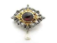 Antique Red Garnet Brooch - Bohemian Garnet and Baroque Pearl Brooch, 800 Silver & Gold, Austrian Garnet Jewelry - Victorian Style Jewellery at VintageArtAndCraft
