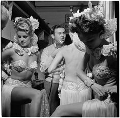 SHOWGIRLS BACKSTAGE AT THE COPACABANA IN NYC.  With radio personality Johnny Grant.  (Stanley Kubrick, 1940's.)