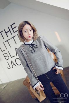 Light Grey Vintage Blouse with Frill Trim and Contrast Ribbon Details c5177e1539