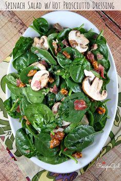 Spinach Salad with Hot Prosciutto Dressing #recipe - RecipeGirl.com