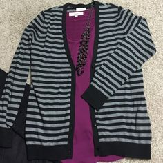 LOFT button black /gray cardigan Super soft and in excellent condition!!  Ribbed cuffs and hem.  This is a size L, but actually runs really small...especially for LOFT.  Would fit a size 6 to small 10.  100% cotton LOFT Sweaters Cardigans
