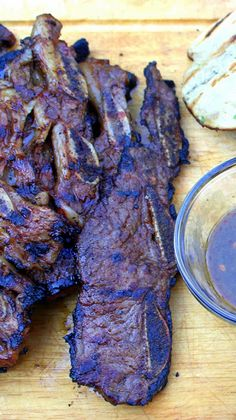 Grilled Korean Style Beef Short Ribs Marinated overnight and then grilled. Cooks fast,10 minutes. But the marinade stays with 'em. Salty from soy sauce, hints of Asia from Sesame seeds and oil, Ginger and Kiwi, sweet from Brown Sugar and Honey... And all seeped into the meat with carbonation from 7-Up!!! Deep rich beef flavors with all the flavors of Asia... Best bite from the grill I have ever had!!!