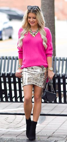 #fall #outfits women's pink sweatshirt with grey mini skirt with pair of booties outfit. Click To Shop This Look.
