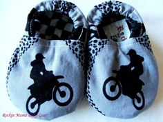 Motocross Motorcycle Dirt Bike Baby Booties handmade by Rockin Mama Baby Gear