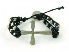 Black/Silver Cross Icon Bracelet. Cool  and Edgy  #wrap #bracelets #beads #fashion #fun #style #accessorize #cross #beads #CalypsoStudios