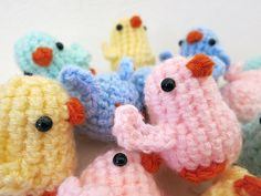 COMPLETED - One Amigurumi Chick Plush Pink, Blue, Yellow, Green
