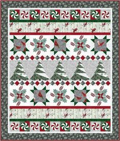 Flights of Whimsy Christmas quilt pattern with red green silver and white trees, robins, and peppermint for a modern holiday decor Holiday Quilt Patterns, Beginner Quilt Patterns, Christmas Tree Quilt Pattern, Christmas Quilting Projects, Christmas Patterns, Christmas Sewing, Fat Quarters, Paper Piecing, Quilt Of Valor