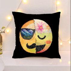 Cushions Reversible Mermaid Pillow Emoji Sequin Cover Face Cushion Case Home Decor Lc & Garden
