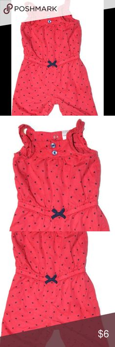 Carter's 3 Month Baby Red/Navy Hearts Long Romper Gently used Carter's 3 month romper.  Sleeveless with long legs.  Red with navy hearts.  Elastic waist, buttons in the back and buttons down the legs.  Absolutely adorable! Carter's One Pieces