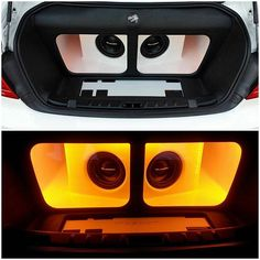 One Loud Page trunk car audio fabrication custom sub enclosure plexi grills walled off leds