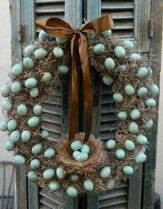 Door Wreath Spring Wreath Egg Wreath Easter by tatteredcottage2, $70.00