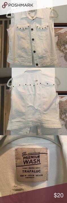 Zara studded denim vest Great white denim studded vest! Zara Jackets & Coats Vests