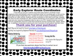 8 coordinate plot cards of early American explorers. Engage your students in meaningful practice of coordinate grid math concepts, social studies review, and reading summary and inference practice.  Each coordinate card features the plot points for an early explorer's route that is color coded.