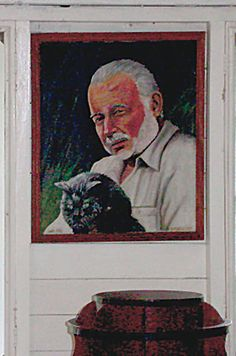 A portrait of Ernest Hemingway with one of his famous cats. ...BTW,Please Check this out: http://artcaffeine.imobileappsys.com