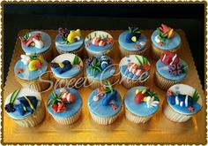 Cupcakes tema pet shop peixinhos