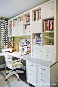 Cool and space saving home office idea out of IKEA furniture. | Coole und platzsparende Idee für ein Home Office aus IKEA Möbeln.