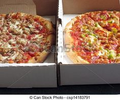 Closeup of 2 pizzas in delivery boxes.