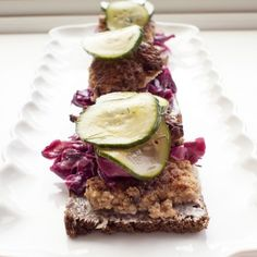 Frikadeller Smørrebrød with Sweet and Sour Red Cabbage from Honest Cooking