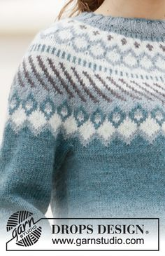 Knitted jumper with round yoke and Nordic pattern in DROPS Karisma. Sizes S - XXXL. Free Knitting Patterns For Women, Fair Isle Knitting Patterns, Fair Isle Pattern, Sweater Knitting Patterns, Drops Design, Knitting Gauge, Baby Knitting, Jersey Jacquard, Magazine Drops