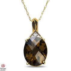 Ebay NissoniJewelry presents - Ladies Diamond Accent Pendant and chain with Smokey Quartz in 10k Yellow Gold    Model Number:P7311-Y077SMQ    http://www.ebay.com/itm/Ladies-Diamond-Accent-Pendant-and-chain-with-Smokey-Quartz-in-10k-Yellow-Gold/321857632951
