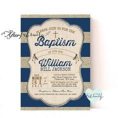 Burlap Rustic Baptism Invitation Boy Christening Invitation, Naming Day , 1st Holy Communion, Dedication Invite No.774BAPTISM