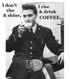 How Did Elvis Like His Coffee? Even though Elvis was better known for his love of Pepsi, he was a coffee fan. In Elvis researcher Adam Victor came out with The Elvis Encyclopedia. It could very well be the definitive Elvis research book Serge Gainsbourg, Gi Joe, Rock And Roll, People Drinking Coffee, Drinking Tea, Rare Elvis Photos, Divas, I Love Coffee, Coffee Coffee