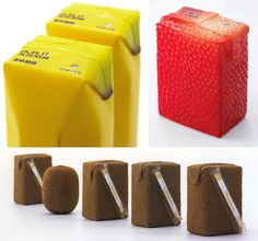 Created by Japanese industrial designer Naoto Fukasawa, the juice box's packaging is supposed to be more appealing to the eye by imitating the actual fruit they contain. #design #packaging
