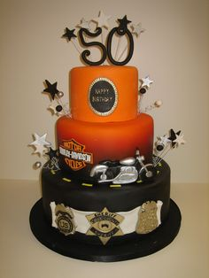 Amy Beck Cake Design - Chicago, Il - Harley And 50 Birthday within Amy Beck Cake Design - Cake Design Ideas Torta Harley Davidson, Harley Davidson Birthday, Happy 50th Birthday, Birthday Cake, Beautiful Cakes, Amazing Cakes, Motorcycle Cake, Cook County, Cake Decorating Tools