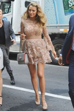Blake Lively looked lovely in a short Elie Saab dress with Stuart Weitzman heels for an appearance in New York.