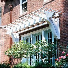 Over-the-Door Pergola - I've never seen this before.  Not sure it works with our Tudor, but I likey.