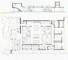 Clássicos da Arquitetura: Residência Castor Delgado Perez,Planta Baixa e Corte. © Acervo Digital Rino Levi FAU PUC Campinas