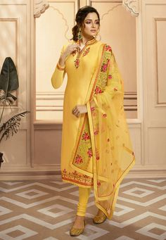 Yellow Multi Embroidered Indian Gharara/Churidar Suit is a steal the deal indian outfit showcasing glamorous style and elegance with its unique embroidered combination of zari, resham and stone wor. Churidar Suits, Salwar Kameez, Kurti, Plazzo Pants, Suits For Women, Clothes For Women, Drashti Dhami, Pakistani Formal Dresses, Yellow Online