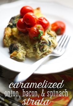 Caramelized onion, bacon, spinach, and gruyere strata from Our Best Bites. Perfect make ahead breakfast! Best Breakfast Casserole, Breakfast Recipes, Dinner Recipes, Breakfast Ideas, Perfect Breakfast, Breakfast Club, Brunch Ideas, Breakfast Dishes, Brunch Recipes