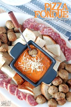 Pizza Fondue Game Day Recipe - easy and delicious Sunday big game appetizer recipe that everyone will love.