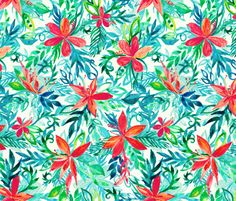 Bright Colors Tropical Watercolor Floral fabric by micklyn on Spoonflower - custom fabric