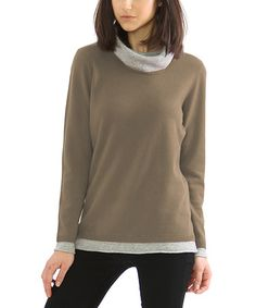Another great find on #zulily! Taupe & Heather Gray Merino-Cashmere Blend Mock Neck Sweater by funsport #zulilyfinds