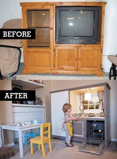 Outdated entertainment center furniture repurposed into children's kids kitchen; Upcycle, recycle, salvage, diy, repurpose! For ideas and goods shop at Estate ReSale & ReDesign, Bonita Springs, FL