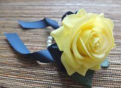 Wrist Corsage, Yellow Rose and Navy ribbon corsage, Yellow rose corsage on pearl bracelet